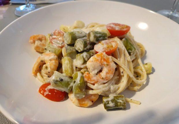 Rezept Spaghetti mit Garnelen und Spargel